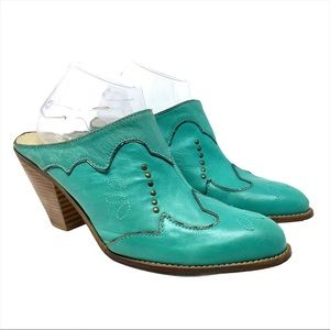 Jessica Simpson Turquoise Leather Western Mule 9.5